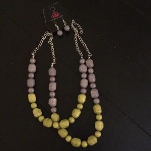 Layered necklace and matching earrings.